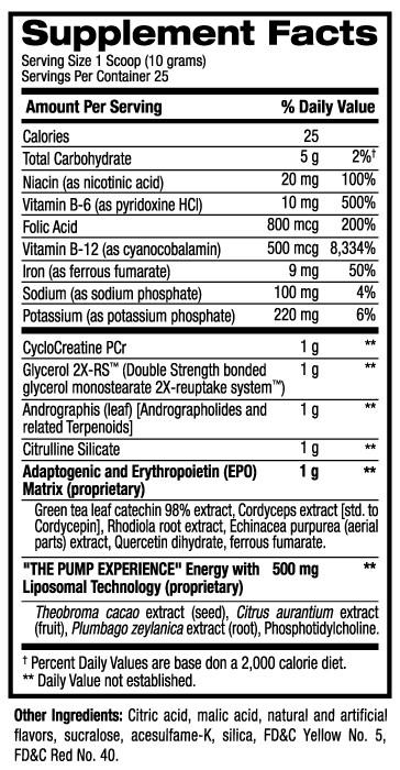 Pump HD Supplement Facts