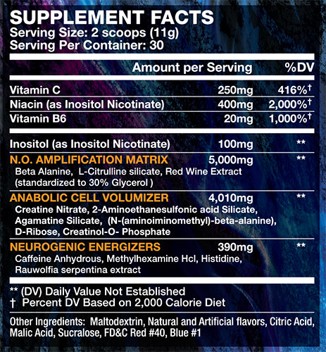 Wicked Pre Workout Grape Supplement Facts