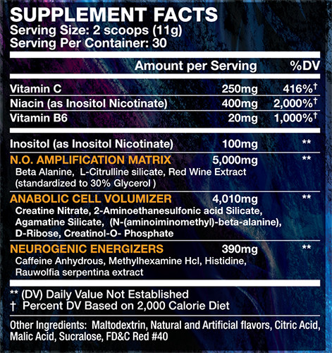 Wicked Pre Workout Supplement Facts