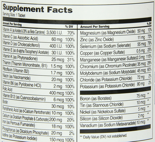 21st Century Sentry MultiVitamin Supplement Facts