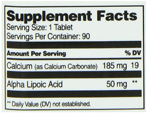 21st Century Alpha Lipoic Acid Supplement Facts