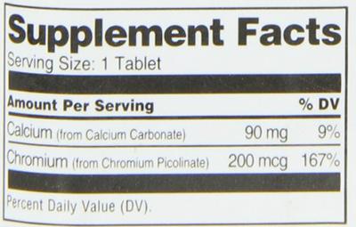 21st Century Chromium Picolinate Supplement Facts
