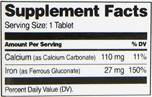 21st Century Iron Supplement Facts