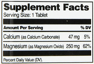 21st Century Magnesium Supplement Facts
