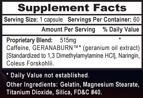 APS White Lightning Supplement Facts