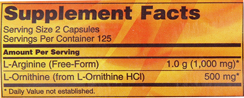 NOW Arginine & Ornithine - Caps Supplement Facts