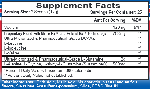 Chain'd Reaction Blue Raspberry Supplement Facts