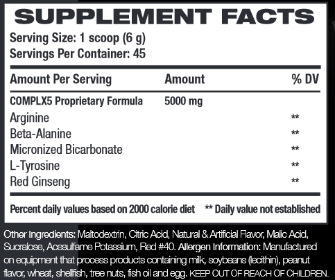 COMPLX5 Supplement Facts