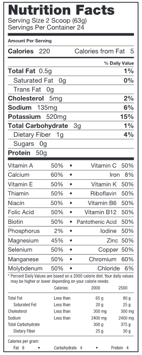 RIVALUS Iso Clean Protein Nutrition Facts
