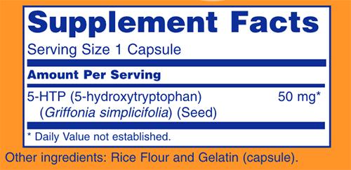 NOW 5-HTP - Caps Supplement Facts