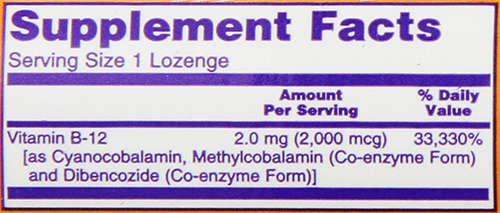 NOW B12 Lozenges Supplement Facts