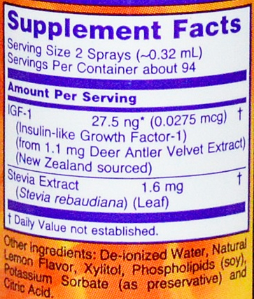 NOW IGF-1 Supplement Facts