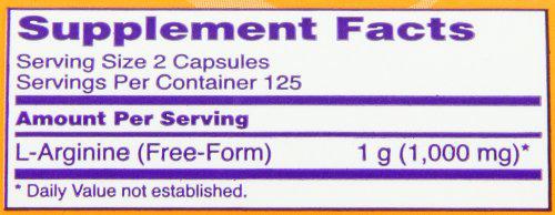 NOW L-Arginine Caps Supplement Facts