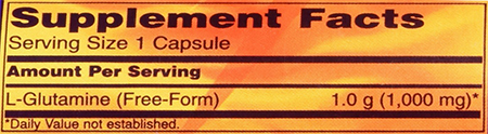 NOW L-Glutamine - Caps Supplement Facts