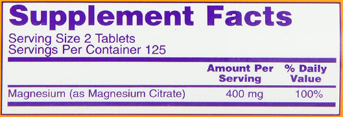 NOW Magnesium Citrate Tabs Supplement Facts