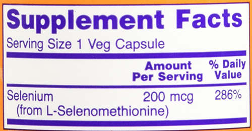 NOW Selenium Veg Capsule Supplement Facts