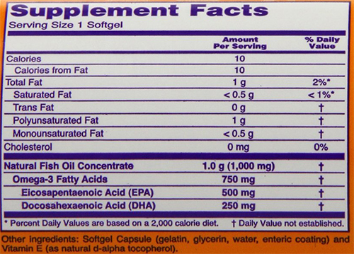 NOW Ultra Omega-3 Supplement Facts