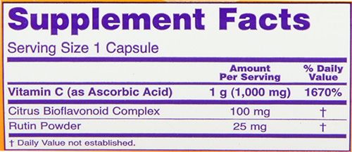 NOW Vitamin C-1000 Caps Supplement Facts