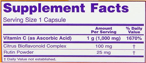 NOW Vitamin C-1000 Caps Supplement Facts