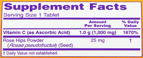 NOW Vitamin C-500 Tabs Supplement Facts