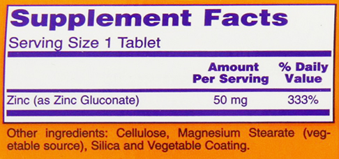 NOW Foods Zinc Supplement Facts