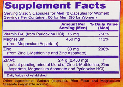 NOW ZMA Supplement Facts