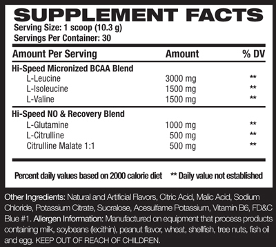 RIVALUS STEAM Supplement Facts
