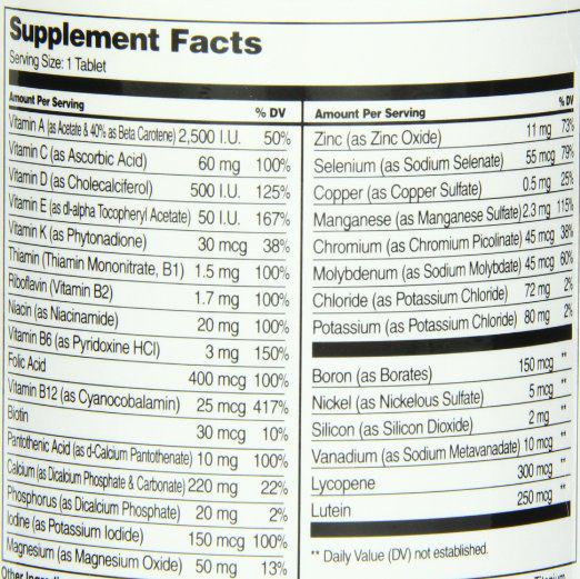 Sentry Senior Supplement Facts