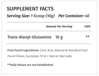 TAG Glutamine Supplement Facts