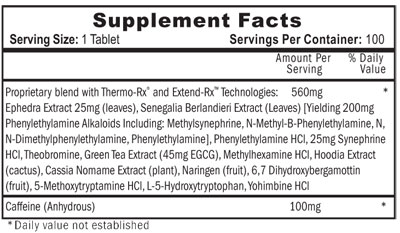 Lipodrene Supplement Facts