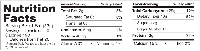 B-Jammin Bars Apple Pie Nutrition Facts