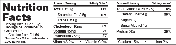 B-UP Protein Bars Chocolate Chip Cookie Dough Nutrition Facts