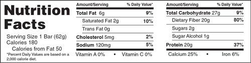 B-UP Protein Bars Chocolate Mint Nutrition Facts