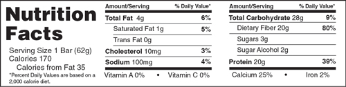 B-UP Protein Bars Cinnamon Roll Nutrition Facts