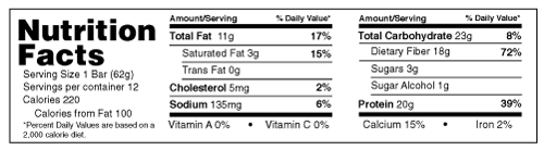 B-UP Protein Bars Peanut Butter Nutrition Facts