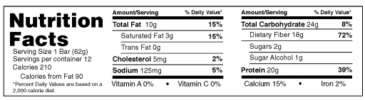 B-UP Protein Bars PB and J Nutrition Facts