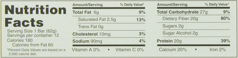 B-UP Protein Bars Nutrition Facts