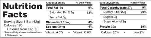 B-UP Protein Bars Sugar Cookie Nutrition Facts