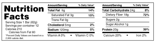 B-UP Protein Bars Vanilla Peanut Butter Nutrition Facts