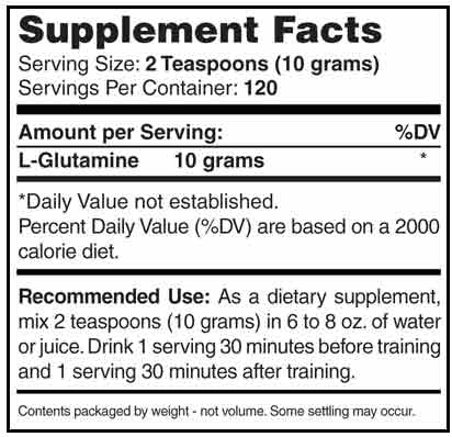 GL3 L-Glutamine Supplement Facts
