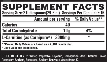 Nutrex Liquid Carnitine 3000 Supplement Facts