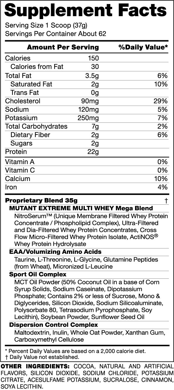 Mutant Whey Protein Supplement Facts