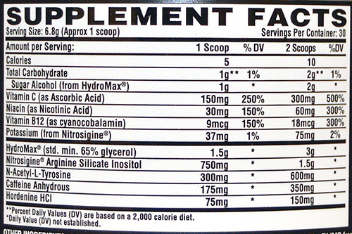 Nutrex OUTRAGE Supplement Facts