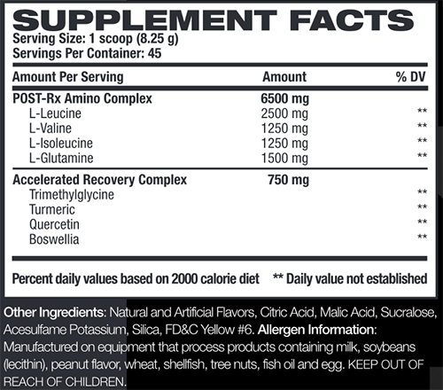 Post RX Supplement Facts