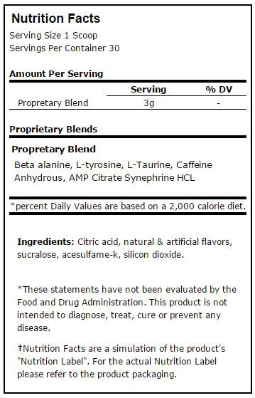 Prime Nutrition PWO/Stim Nutrition Facts