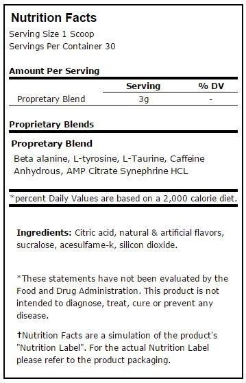 Prime Nutrition PWO/Stim Nutrition Facts