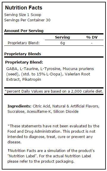 Prime Nutrition Sleep/GH Nutrition Facts