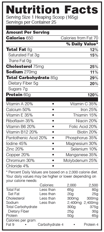 Pro Gainer Cookies and Cream Nutrition Facts