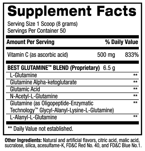 BPI Best Glutamine Supplement Facts