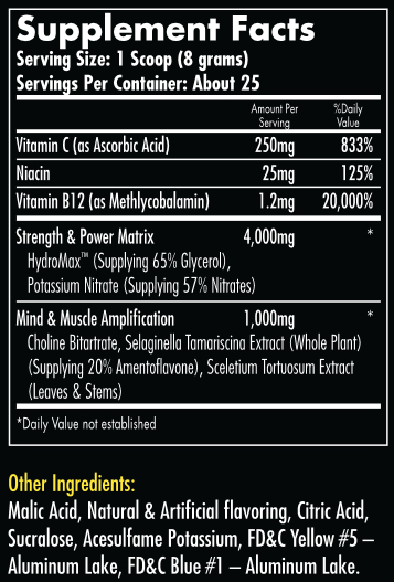Hemavo2 Max Candy Green Apple Supplement Facts